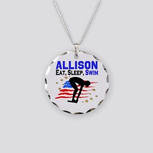 PERSONALIZE SWIMMER Necklace Circle Charm