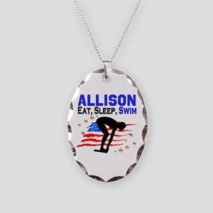 PERSONALIZE SWIMMER Necklace Oval Charm