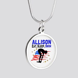 PERSONALIZE SWIMMER Silver Round Necklace