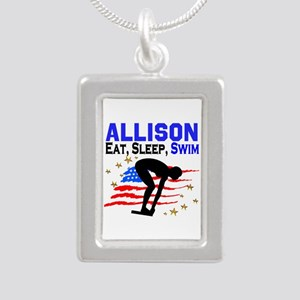 PERSONALIZE SWIMMER Silver Portrait Necklace