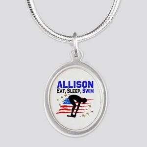 PERSONALIZE SWIMMER Silver Oval Necklace