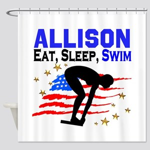 PERSONALIZE SWIMMER Shower Curtain