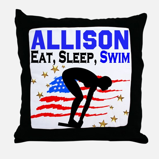 PERSONALIZE SWIMMER Throw Pillow