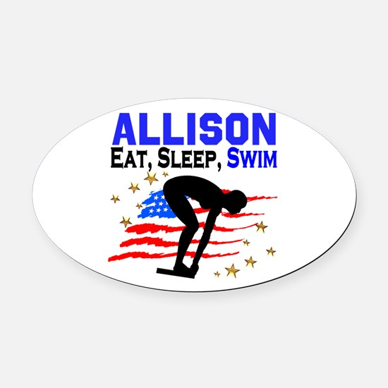 PERSONALIZE SWIMMER Oval Car Magnet