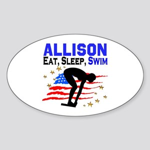 PERSONALIZE SWIMMER Sticker (Oval)