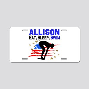 PERSONALIZE SWIMMER Aluminum License Plate