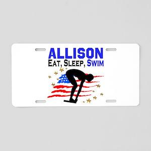 PERSONALIZE SWIMMER Aluminum License Plate