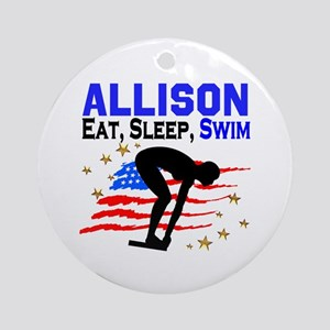 PERSONALIZE SWIMMER Round Ornament