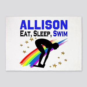 PERSONALIZE SWIMMER 5'x7'Area Rug
