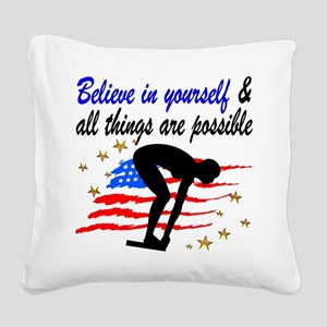 BEST SWIMMER Square Canvas Pillow