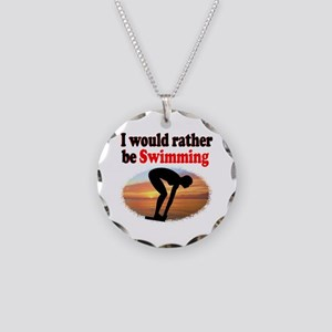 BEST SWIMMER Necklace Circle Charm