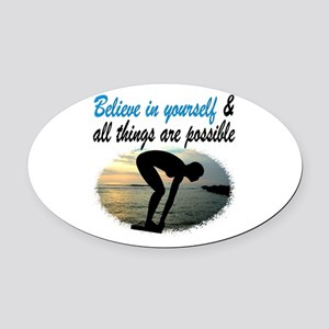 BEST SWIMMER Oval Car Magnet