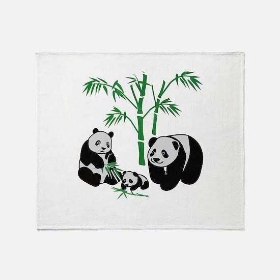 Panda Bear Family Throw Blanket