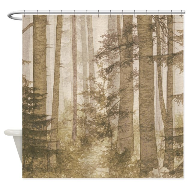 Brown Misty Forest Shower Curtain By Showercurtainshop