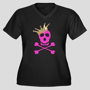 Pink Pirate Royalty Women's Plus Size V-Neck Dark