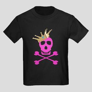 Pink Pirate Royalty Kids Dark T-Shirt