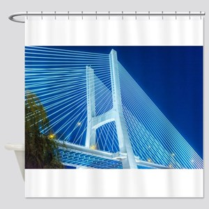 Bridge at night - lighted Shower Curtain