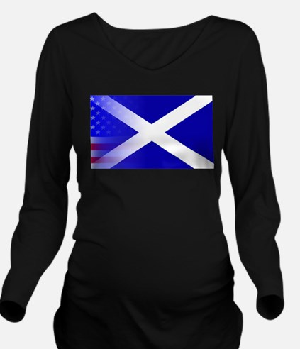 Scottish Flag Stars Long Sleeve Maternity T-Shirt