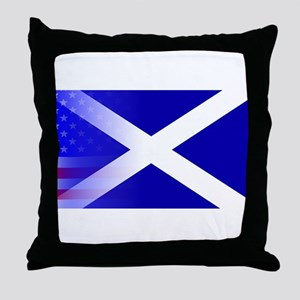 Scottish Flag Stars and Stripes Throw Pillow