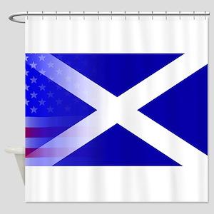 Scottish Flag Stars and Stripes Shower Curtain
