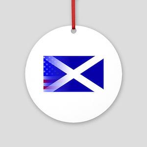Scottish Flag Stars and Stripes Round Ornament