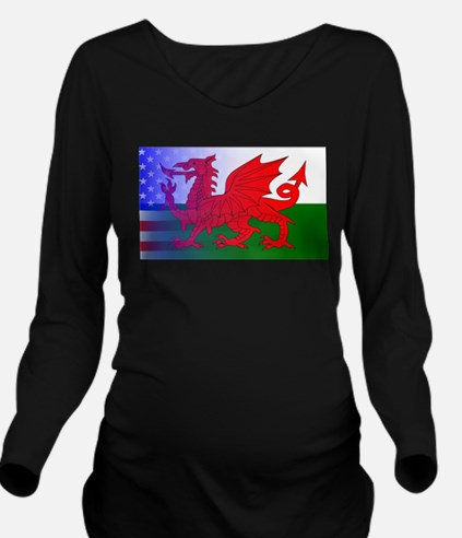 Wales Dragon Stars a Long Sleeve Maternity T-Shirt