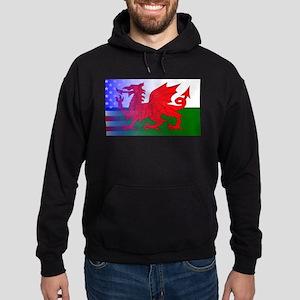 Wales Dragon Stars and Stripes Hoodie (dark)