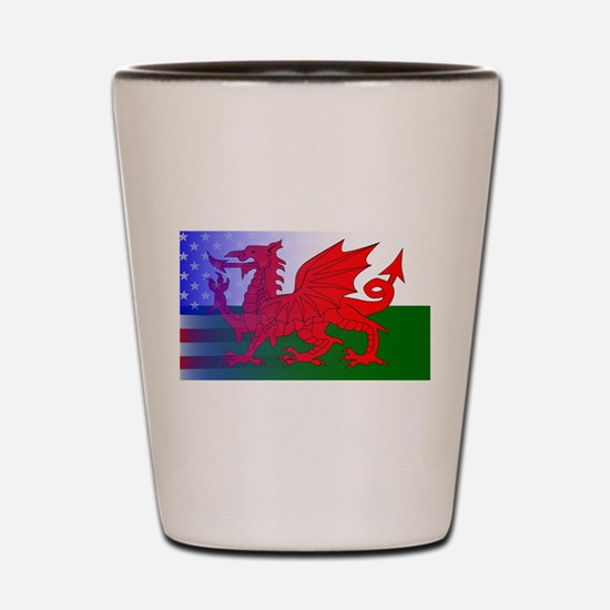 Wales Dragon Stars and Stripes Shot Glass