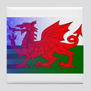 Wales Dragon Stars and Stripes Tile Coaster