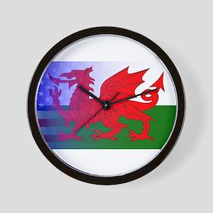 Wales Dragon Stars and Stripes Wall Clock