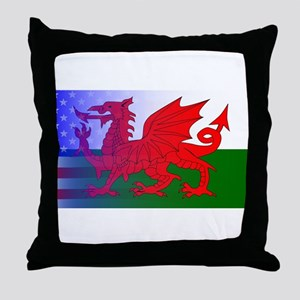 Wales Dragon Stars and Stripes Throw Pillow
