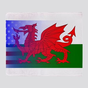 Wales Dragon Stars and Stripes Throw Blanket