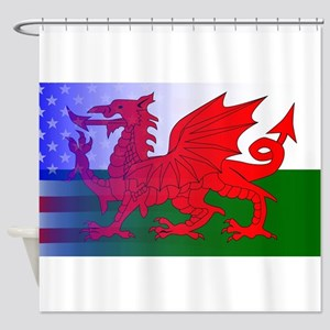 Wales Dragon Stars and Stripes Shower Curtain