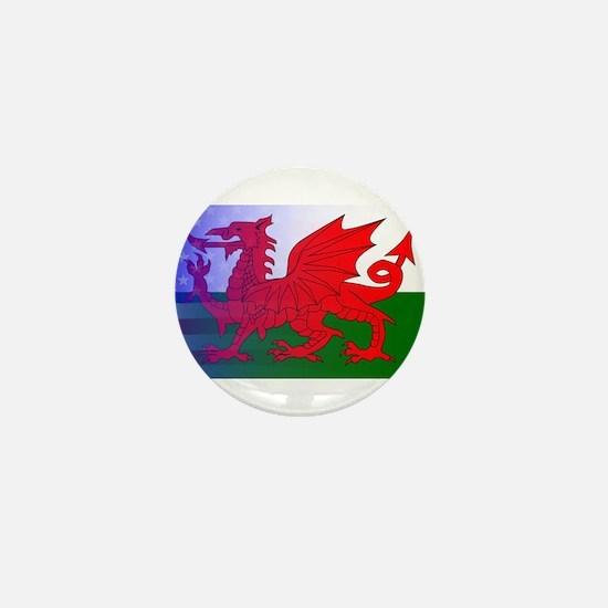 Wales Dragon Stars and Stripes Mini Button