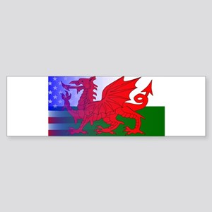 Wales Dragon Stars and Stripes Bumper Sticker