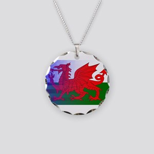 Wales Dragon Stars and Strip Necklace Circle Charm