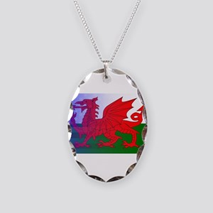 Wales Dragon Stars and Stripes Necklace Oval Charm