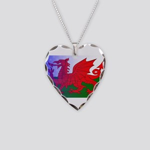 Wales Dragon Stars and Stripe Necklace Heart Charm