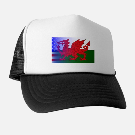 Wales Dragon Stars and Stripes Trucker Hat