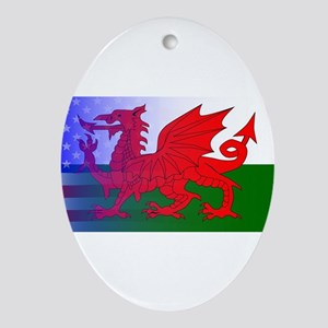 Wales Dragon Stars and Stripes Oval Ornament