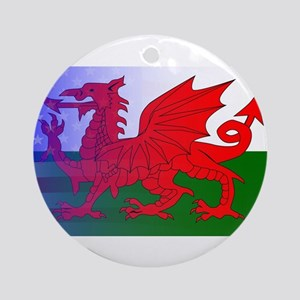 Wales Dragon Stars and Stripes Round Ornament