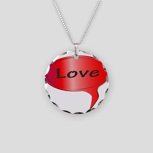 Love Speech Bubble Necklace Circle Charm