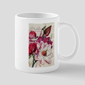 RED MAGENTA FLOWER ON NEWSPAPER_VINTAGE Mugs