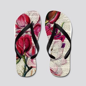 RED MAGENTA FLOWER ON NEWSPAPER_VINTAGE Flip Flops