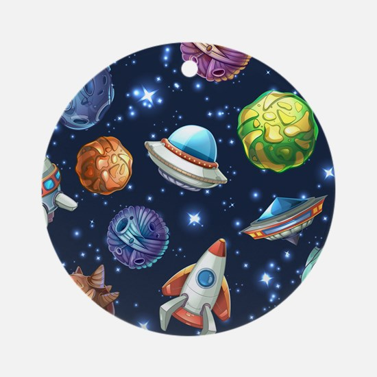 Cartoon Space Round Ornament