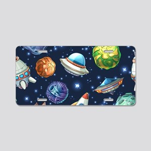 Cartoon Space Aluminum License Plate