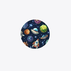 Cartoon Space Mini Button