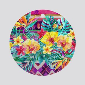 Tropical Watercolor Round Ornament