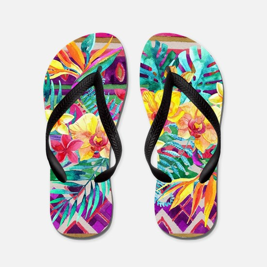 Tropical Watercolor Flip Flops