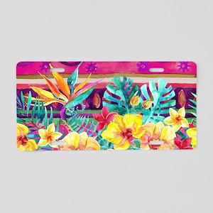 Tropical Watercolor Aluminum License Plate